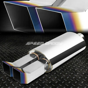 2 5 inlet 3 3 8 Dual Bent Burnt Tip T304 Stainless Racing Oval Exhaust Muffler