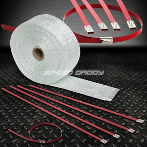 25 7 5m 2 W Exhaust Downpipe White Heat Wrap Stainless Red Zip Tie Cable