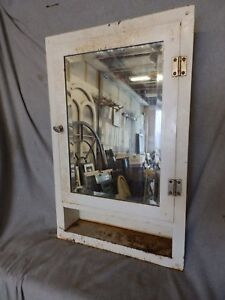 Vtg Industrial Metal Recessed Mount Old Medicine Cabinet Beveled Mirror 222 17p