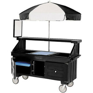Cambro Cvc72110 Camcruiser Vending Cart And Kiosk With Black And White Umbrella