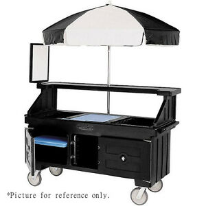 Cambro Cvc724110 Black Camcruiser Four Well Vending Cart And Kiosk W Umbrella