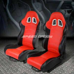 Pair Red Black Sides Fully Reclinable Pvc Leather Type R Racing Seats W Sliders