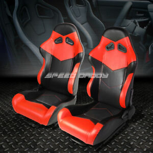 Pair Black Red Fully Reclinable Pvc Leather Arrow Design Racing Seats W Slider