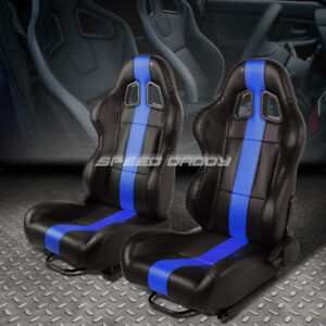 Pair Black vertical Blue Stripe Reclinable Leather Type r Racing Seats W sliders