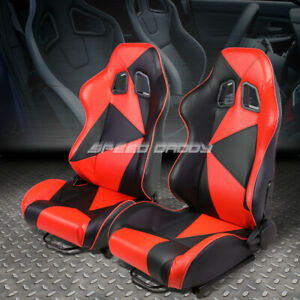 Pair Black red Reclinable Pvc Leather Triangle Design Racing Seats W slider