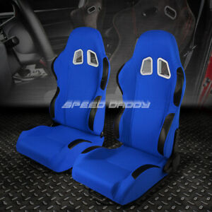 Pair Blue Center black Trim Fully Reclinable Cloth Type r Racing Seats W sliders