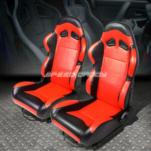 Pair Red Center Black Trim Fully Reclinable Pvc Leather Racing Seats W Sliders