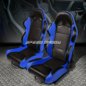 Pair Black Center blue Fully Reclinable Pvc Leather Type r Racing Seats W slider