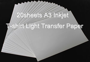 20sheets 1package A3 Inkjet Light Transfer Paper Heat Press Diy T shirt Crafts
