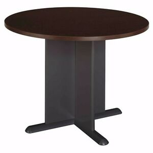 Bush Business 42 In Round Conference Table Mocha Cherry With Graphite Gray Base