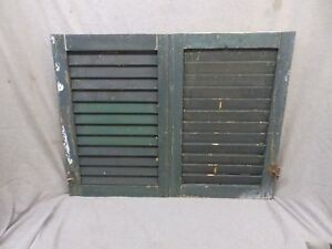 Pair Small Antique Window Wood Louvered Shutter Vintage 24x16 247 17p
