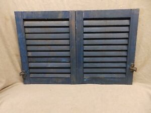 Pair Small Antique Blue Window Wood Louvered Shutter Vintage 20x16 250 17p