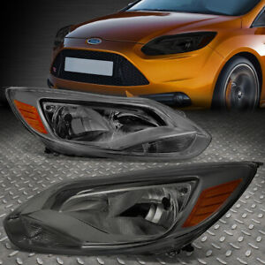 For 2012 2014 Ford Focus Gen3 Pair Smoked Housing Amber Corner Headlight Lamp