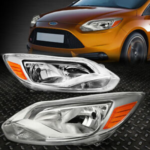 For 12 14 Ford Focus Chrome Housing Amber Corner Headlight Replacement Head Lamp