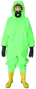 Fire fighting Semi closed Chemical Protective Suit Green Water Zipper