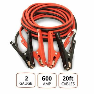 Comercial Heavy Duty 600 Amp Clamps 20 Ft 2 Gauge Booster Cable Jumper Cables