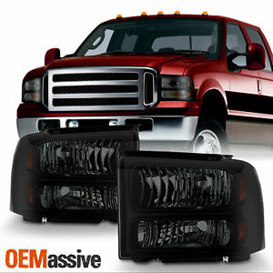 2005 2007 Ford F 250 F 350 Superduty Black Smoked Headlights Replacement Lamps