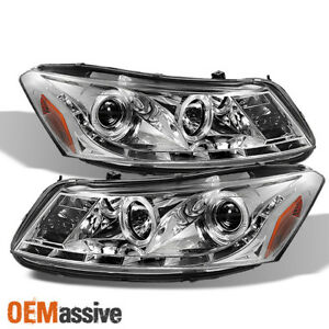 Fits 08 12 Honda Accord 4dr Chrome Clear Halo Projector Drl Led Strip Headlights