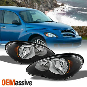 Fit 06 10 Chrysler Pt Cruiser Replacement Black Headlights Headlamps L R