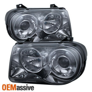 Fit Smoked 2005 2010 Chrysler 300c Projector Headlights Lamp 2006 2007 2008 2009