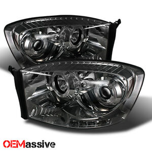 For 06 08 Dodge Ram 1500 2500 3500 Pickup Smoked Dual Halo Projector Headlights