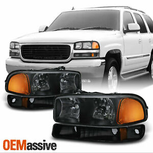 Fit 1999 06 Gmc Sierra Yukon Black Headlights Bumper Signal Lamps Replacement