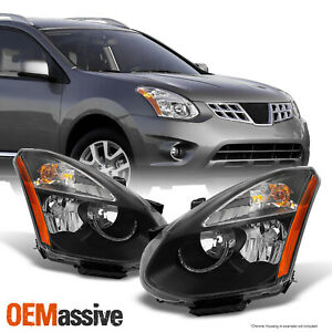 Fits 08 14 Rogue Suv Halogen Type Black Headlights Replacement Left Right Pair