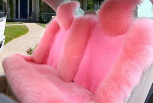 100 Real Pink Sheepskin Long Wool Car Rear Seat Covers universal Fit back Seat