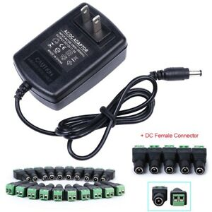 12v 2a Ac dc Adapter Charger Power Supply For Cctv Dvr Camera Led Light Us Stock