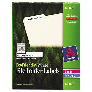 Avery Ecofriendly File Folder Labels 2 3 X 3 7 16 White 1500 pack Ave45366
