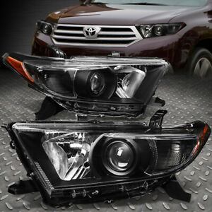 For 11 13 Toyota Highlander Black Housing Amber Corner Projector Headlight Lamp