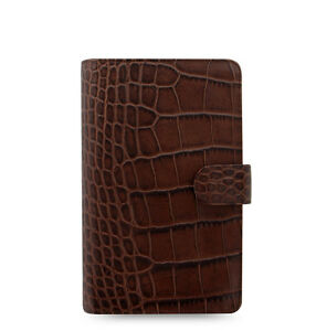 Uk Filofax Compact Classic Croc Organiser Planner Diary Chestnut Leather 026015