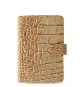 Uk Filofax Personal Classic Croc Organiser Planner Diary Fawn Leather 026012