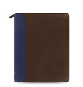 Uk Filofax A5 Nappa Zip Organiser Planner Diary Chocolate blue Leather 025154