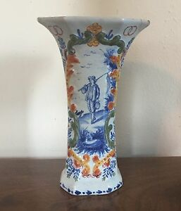 Antique 19th C Dutch Delft Tin Glaze Polychrome Garniture Trumpet Vase Urn
