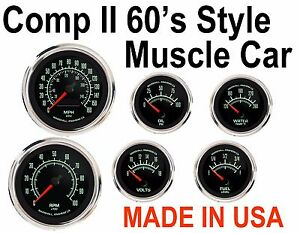 Comp Ii Muscle Car 6 Gauge Set Stainless Bezels With Electronic Speedometer