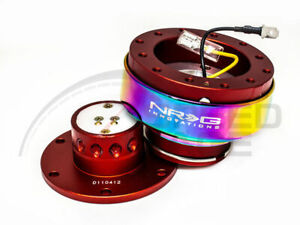 Nrg Steering Wheel Gen 2 0 Quick Release Red Body Neo Chrome Ring 200rd mc