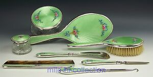 1911 1933 F M A Cl Sterling Guilloche Enamel Roses Ribbon Dresser Set