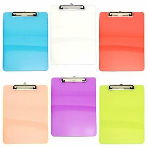 Transparent Assorted Color Plastic Clipboards Document Holder Ruler Supplies Lot