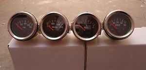 Gauges Set 4 Pc Oil Pressure Temp Volt Fuel Gauge 2 Electric Chrome