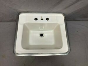 Small Vtg Rheem Richmond Ceramic White Porcelain Drop In Sink Basin Old 518 17e