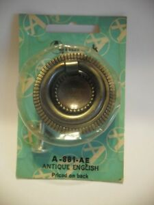 Vintage Nos 1 3 4 Antique English Brass Ring Pull Knob Drawer Cabinet Amerock