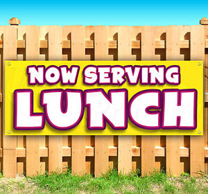 Now Serving Lunch Advertising Vinyl Banner Flag Sign Carnival Fair Food Usa