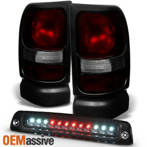 Fit 1994 2001 Dodge Ram 1500 2500 3500 Dark Red Tail Lights Led 3rd Brake Lamp