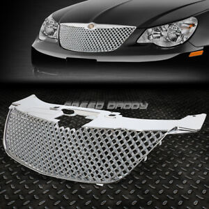 For 07 10 Chrysler Sebring Chrome Diamond Mesh Front Bumper Upper Grille Guard