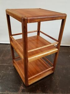 Mid Century Danish Modern Revolving Bookcase Cocktail Bar Display Shelving