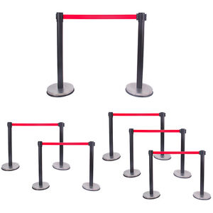 Comie Retractable Belt Stanchion Pole Red Belt Crowd Control Barrier black
