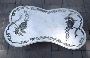 Mid Century Hollywood Regency White Carrara Marble Coffee Table Made In Italy