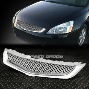 For Jdm 03 05 Honda Accord Sedan Chrome Type r Mesh Front Bumper Grille Guard