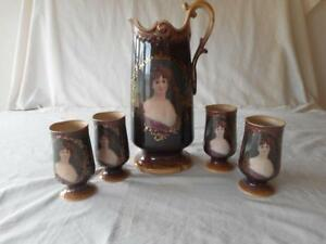 Victorian Woman Portrait Pitcher Ewer Hand Painted With 4 Goblets Glasses
